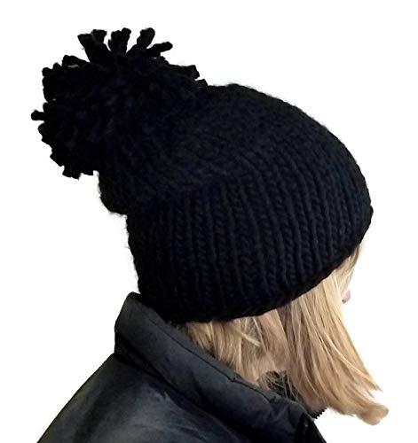 Amazon.com  Womens Black Chunky Handmade Pom Pom Beanie Hat  Handmade 34ab746fce8