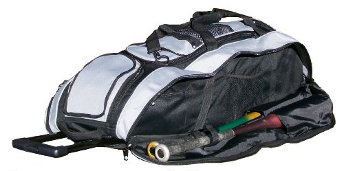 Black and Silver Cobra RTS Softball Baseball Bat Equipment Roller Bag by MAXOPS