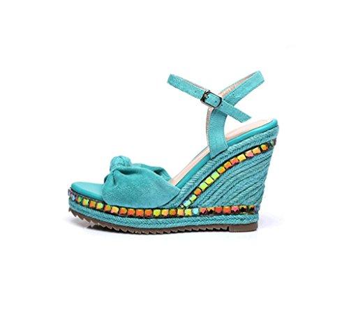 Tissées Noir Dames Wedges De Mode Chaussures Épaisses Rêve Bleu Sandales Sandales Chaussures 4qw1gFczx