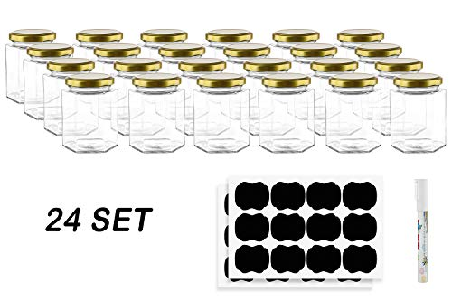 Hexagon Glass Jars by Nellam - 10 OZ, 24 Pack - Includes 48 Chalk Sticker Labels and 2x Chalk Pen. DIY Jars for Canning, Party Favors, Jams, Sauces, Herbs, Spices. (Gold Lid - 24 Pcs)