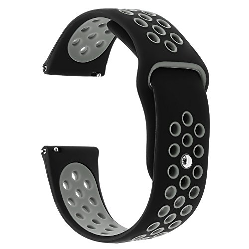 for Samsung Gear S3 / Galaxy Watch 46mm Band, TRUMiRR 22mm Silicone Rubber Watch Band Quick Release Strap Sports Bracelet for Samsung Gear S3 Classic Frontier,Gear 2 R380 R381 R382,Black Grey ()