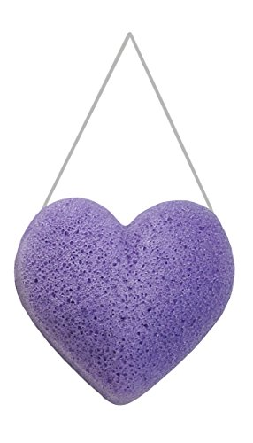 Premium Quality Lavender Heart Konjac Sponge – 100% Pure Konjac Root Powder & Lavender Flower Powder – Mix & Match with Other Fun Shapes & Colors To Create Your Own Perfect Gift Set