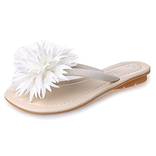 Womens Ladies Fashion Flowers Flat Walking Sandals Flip Flops Slip on Comfy Casual Dress Beach Thongs White from T-JULY