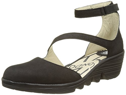 FLYA4|#Fly London Plan717fly, Atado Al Tobillo para Mujer Negro (black/black 002)