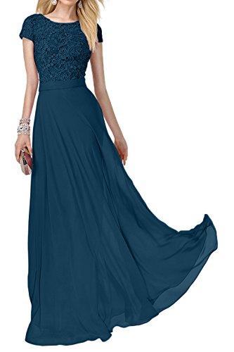 Promkleider Festlich Abendkleider Abiballkleider Blau Charmant Spitze Dunkel Lang Damen Ballkleider Rosa Kurzarm nY5n6XfHx
