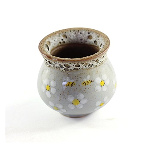 Xigeapg Hand Painted Bee Retro Flower Pot Ceramic Pot Minimalist Creative Stoneware Green Plant Meat Plant Small Flower Pot