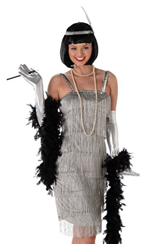 Women's Silver Flapper Dress Costume Halloween - (M) (Cheap Flapper Dress Costume)
