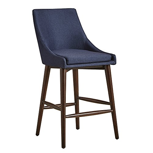 ModHaus Living Mid Century Modern Linen Upholstered Oak Barrel Back Counter Stools with Dark Espresso Finish Tapered Wood Legs (Set of 2) - Includes Pen (Navy Blue Linen)