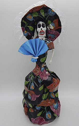 COLOR Y TRADICIÓN Mexican Catrina Doll Day of Dead Skeleton Paper Mache Dia de Los Muertos Skull Folk Art Halloween Decoration Fan # 1584 -