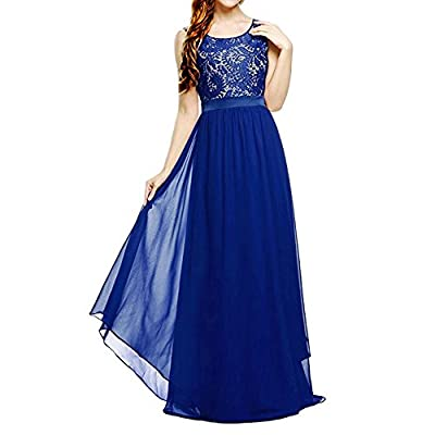 Women's Sleeveless Floral Lace Party Cocktail Prom Bridesmaid Chiffon Maxi Dress
