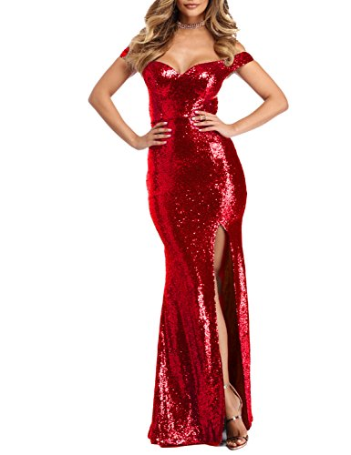 edf49027e BEAUTBRIDE Women s Sexy Mermaid Evening Dress with Slit Sequins Prom Formal  Gown BEFM01