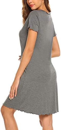 Ekouaer Womens Sleepshirt Short Sleeve Ruffle Seams Nightgown Soft Sleeping Shirts Loungewear Nightshirts