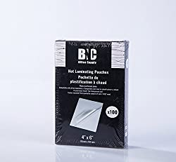 "Bnc Thermal Laminating Pouches, 5 Mil Thick, 100 Pack ,Photo Size 4""x6"""