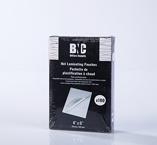 BNC Thermal Laminating Pouches, 5 Mil Thick, 100 Pack,Photo Size 4 Inches by 6 Inches