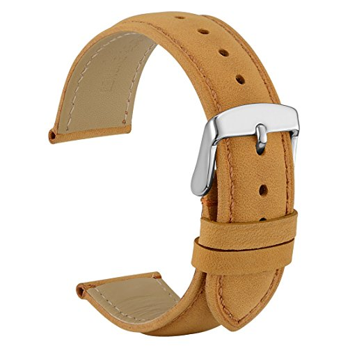 WOCCI 22mm Watch Band - Light Brown Vintage Leather Watch Strap with Silver Buckle (Tone on Tone Stitching) ()
