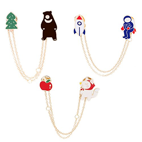 Creative personality pilots grandma Wolf Cubs brooch Ja and South Korea cartoon chain sweater corsage brooch opening