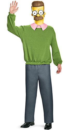 Disguise Men's Ned Flanders Deluxe Adult Costume, Multi, X-Large