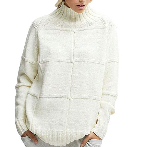 DONTAL Pullover Casual Women Knitted Solid Color Long Sleeve High Scarf Collar Sweater Top White ()