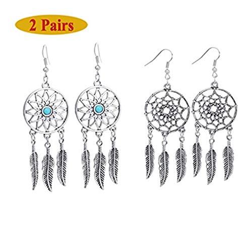 (Clearance! Elogoog Womens 1 Pair Bohemian Feathers Earrings Vintage Dreamcatcher Dangle Stud Ethnic Earrings (Silver))