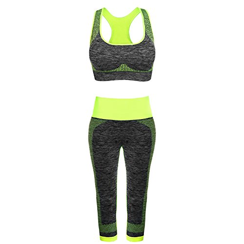 0c065a4c08f FITIBEST Sport Suits High Impact Sports Bra Yoga Pants Gym Outfits  Breathable Exercise Bra and Leggings for Women (M, Green)
