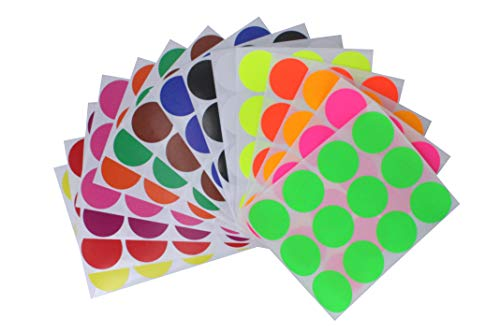 Colored dot Stickers in 15 Assorted Colors (1.5 inch) 38mm - Includes Neon - Circular Color Coding Labels - 180 Pack by Royal Green