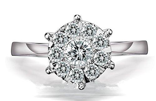 Gowe Mode authentique en or blanc 14K 1carat Taille brillant Charles Bagues de fiançailles pour femme Mariage