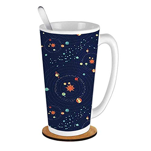 - Solar System Planet Astronomy Cosmos Galaxy Mysterious Universe,Dark Blue Orange Turquoise;Ceramic Cup with Spoon & Round wooden coaster Milk Coffee Tea Mug 16oz gifts for family