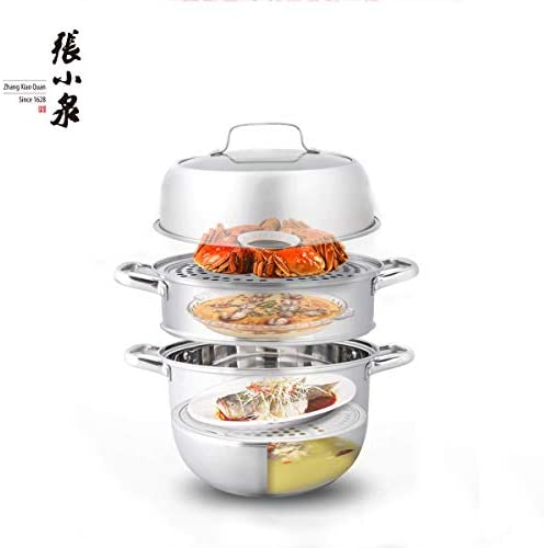 41%2B4ejPKR1L. AC Zhang Xiao Quan Food Steamer Stainless Steel 3 Tier Steamer Pot with Handles on Both Sides, Boiler Pot with Tempered Glass Lid, Work with Gas, Electric, Grill Stove Top,28CM    Product Description