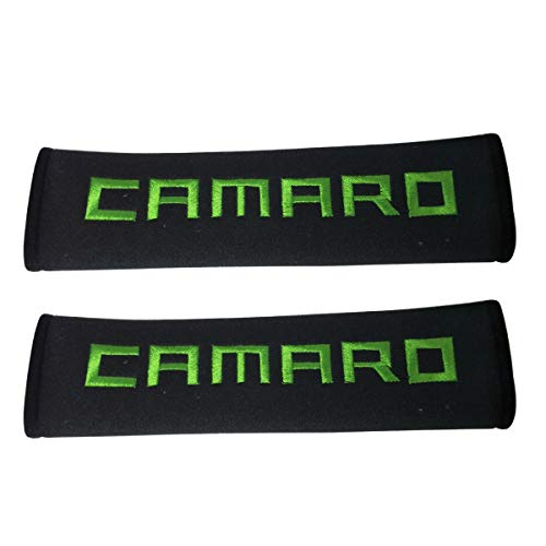 1 Pair New Green Stitching Auto Car Seat Belt Pad Fabric Safety Strap Cover Shoulder Pad Car Seatbelt Protection Compatible Fit for Convertible Coupe Sports Chevrolet Camaro SS ZL1