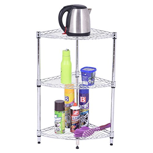 3 Layer Sector Shelf Storage Rack Furniture Bathroom Kitchen Organizer Steel
