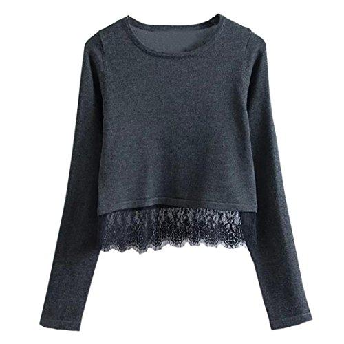 Camisetas De Manga Larga De Nuevo Cordón De Otoño Para Mujer Por ESAILQ Negro