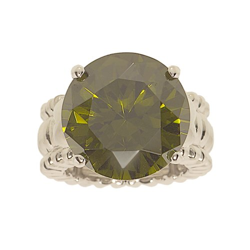 Glamour Rings Big Olivine Round Cubic Zirconia Stretch Ring