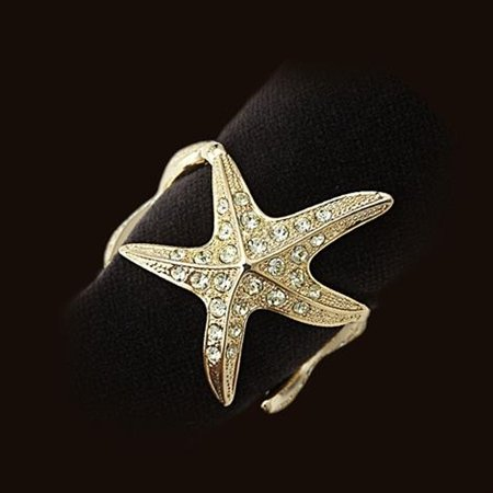 L'Objet 3 Gold Starfish Napkin Rings, Yellow Swarovski Crystals Set/4