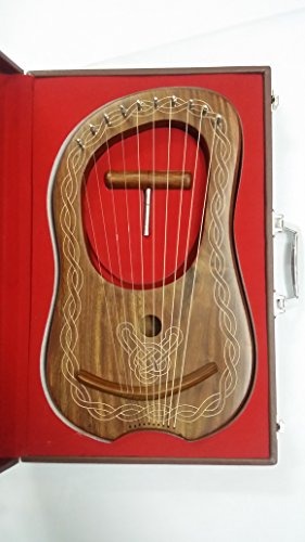 New Lyre Harp Rosewood 10 Metal Strings + Free Hard Carrying Case String Set and Tunning Key. by Highland Empire