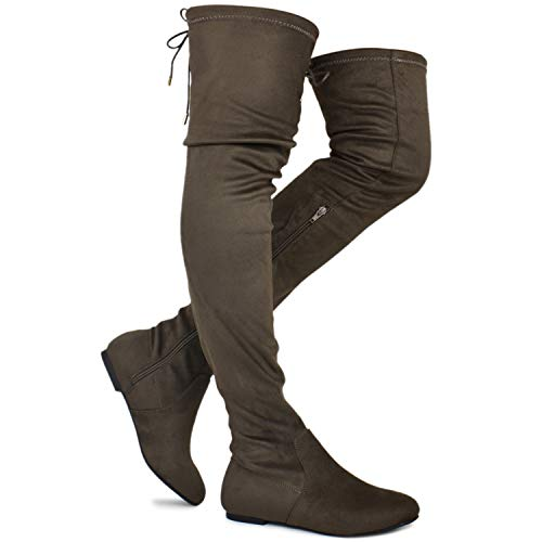 (Premier Standard - Women's Fashion Comfy Vegan Suede Side Zipper Over Knee High Boots, TPS Boots-14Eikciv Taupe Su Size 8)