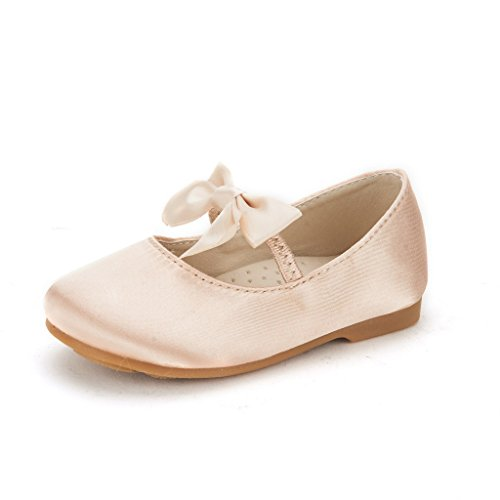 DREAM PAIRS SOPHIA-22 Adorables Mary Jane Front Bow Elastic Strap Ballerina Flat Toddler New Gold Size 8