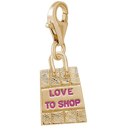 (Rembrandt Love To Shop Bag Charm with Lobster Clasp, Gold Plated Silver)