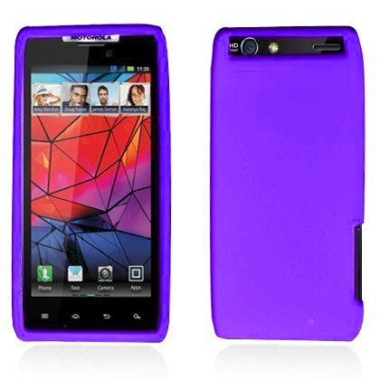 (LF 4 In 1 Bundle - Silicon Skin Case Cover, Stylus Pen, Screen Protector & Wiper For Vrrizon Motorola Droid Razr 4G XT910 / XT912NOT compatible with Razr MAXX) (Skin Purple) )