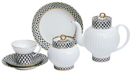Lomonosov Porcelain Cobalt Net Wave Bone China Tea Set 20 pc