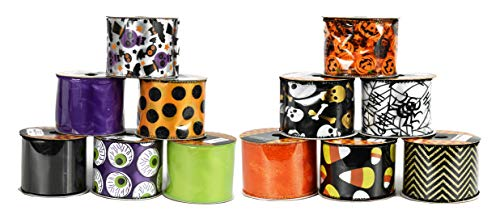 Set of 12 Halloween Wired Ribbon Rolls! 3 Yards of Ribbon Per Roll! Spooky Halloween Decorations Perfect for Classrooms, Schools, Parties and More! (Complete Set)]()