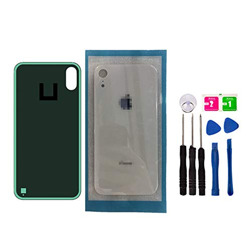 Original - Replacement Rear Housing Battery Back Door Glass Cover for iPhone Xr 6.1 inch, Panel Case with Adhesive Preinstalled Repair Part Casing (White) (Iphone 4 Front And Back Glass Replacement Kit)