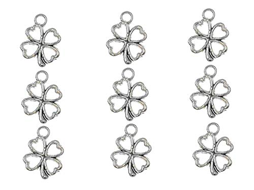(100pcs Four Leaf Clover Lucky Charms Pendents for DIY Crafting Bracelet Necklace Jewelry Making Accessories By Alimitopia(Antique Silver))