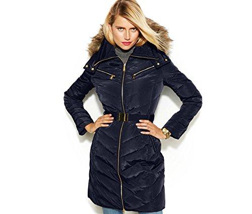 MICHAEL Kors women's Hooded Faux Fur Trim Belted Down