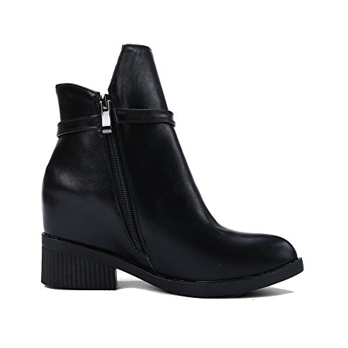 VogueZone009 Womens Solid High-Heels Closed Round Toe PU Zipper Boots