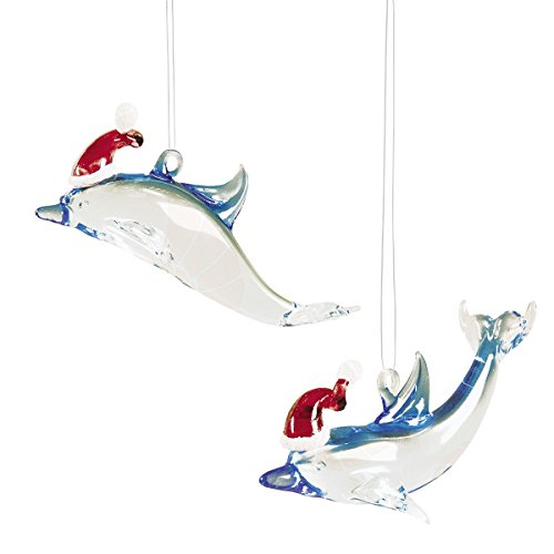 GALLERIE II Santa Dolphin Christmas Xmas Ornament A2 Multi (Dolphin Glass Ornaments)