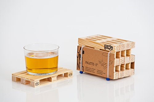 Design Studio Labyrinth Barcelona Mini Euro Pallet - 4 Miniature Pallet Wood Beverage Drink Coasters. For Wine Glasses and Bottles, Whiskey, Beer Cocktail Glasses. Suitable For Bar, Home and Office.