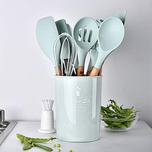 joyMerit Silikon Kochbesteck Küchenutensilien Antihaft Hitzebeständiges Küche Besteck mit Holzgriff, Hellgrün - Schlitzwender