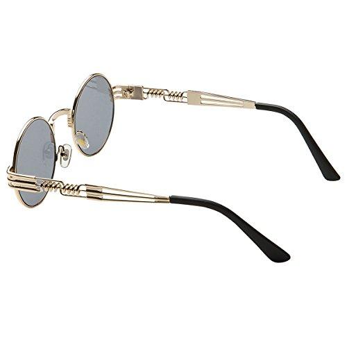 Gafas Lennon Lente sol marco John negro de Steampunk Dollger Redondas Punk Metal dorado Marco del dE1Udq