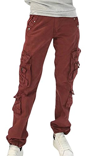 NAWONGSKY Women's Outdoor Baggy Fit Military Cargo Work Pants with Pockets, Dark Red, Tag 29 = US (0-2)