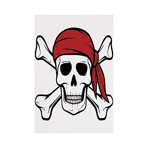 (Polyester Garden Flag Outdoor Flag House Flag Banner,Pirate,Dead Pirate Skull and Crossbones Red Bandana Scary Bandit Warning Icon Piracy,Black White Ruby,for Wedding Anniversary Home Outdoor Garden D)
